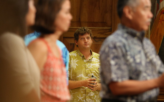 Office of the Mayor, Communications Director, Jesse K. Broder Van Dyke during Governor Ige press conference on homeless. 17 aug 2015. photograph Cory Lum/Civil Beat