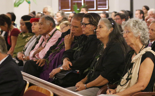 Plaintiffs and supporters in front row during Hawaii State Supreme Court oral arguments. 27 aug 2015. photograph Cory Lum/Civil Beat
