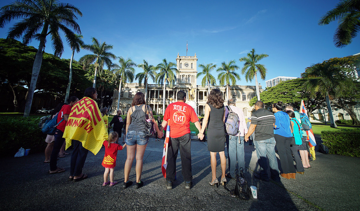 Mauna Kea supporters gather outside Aliiolani Hale, Hawaii State Supreme Court Building before oral arguments are scheduled. 27 aug 2015. photograph Cory Lum/ Civil Beat
