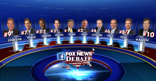 The 10 candidates who will appear on stage in the first major televised prime time debate of the 2016 campaign, to be hosted on Fox News.