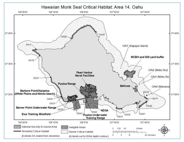 Monk Seal Critical Habitat Oahu