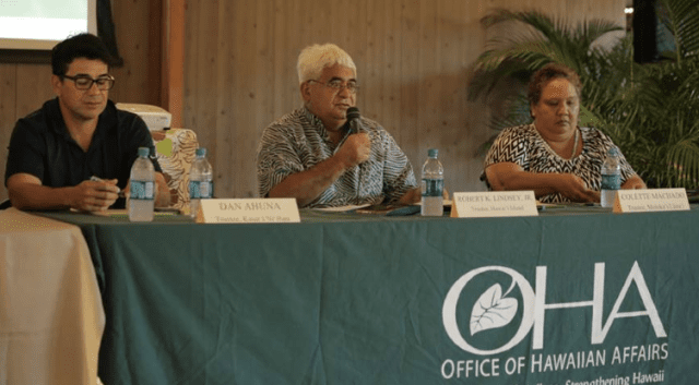 From left, OHA Trustees Dan Ahuna, Robert Lindsey and Colette Machado at a 2015 community meeting on Molokai. The writer contends the OHA board has a pattern of