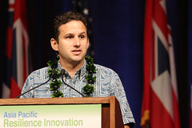 Senator Brian Schatz speaks at the Asia Pacific Resilience Innovation Summit and Expo held at the Hawaii Convention Center. 25 aug 2015. photograph Cory Lum/Civil Beat