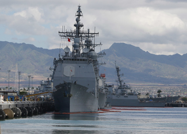 USS CG-62 USS Chancellorsville docked at Pearl Harbor. photograph Cory Lum/Civil Beat