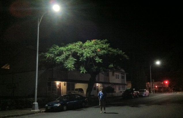 One of Honolulu's new LED lights casts a sharp glow over Lowrey Avenue.