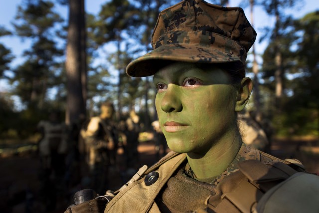 Pfc. Christina Fuentes Montenegro is one of the first females to graduate from the Marine Infantry Training Battalion.