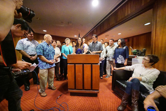Representative Beth Fukumoto Chang and other public officials from all islands making statements on the future of electric utilities in Hawaii. 3 sept 2015. photograph Cory Lum/Civil Beat