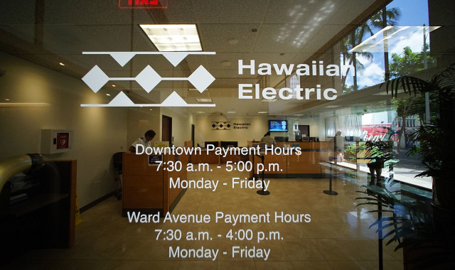 Hawaiian Electric Downtown payment office located on the bottom floor of the American Savings Building 1001 Alakea Street. 16 sept 2015. photograph Cory Lum/Civil Beat