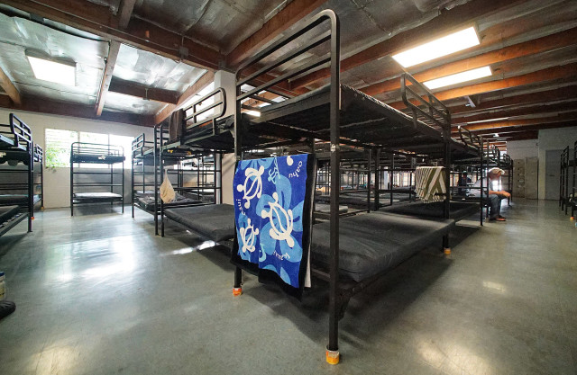 Bunk beds on the second floor of the Institute of Human Services Sumner Men's Shelter. 10 sept 2015. photograph Cory Lum/Civil Beat