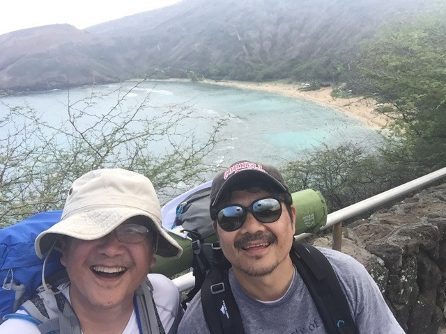 David, left, and Scott Jung above Hanauma Bay.