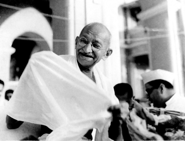 Mahatma Gandhi laughs in this photograph from the early 1940s. He was born 146 years ago this year.