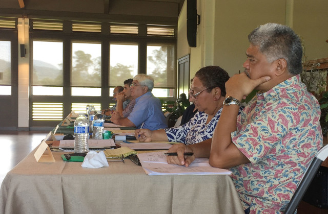 On OHA Board of Trustees meeting in Waimea on the Big Island Sept. 10. From right: CEO Kamanao Crabbe, Trustee Colette Machado and Chair Robert Lindsey Jr.