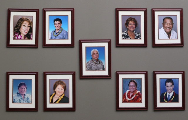 Photos of the current trustees at the OHA's headquarters on North Nimitz Highway in Honolulu.