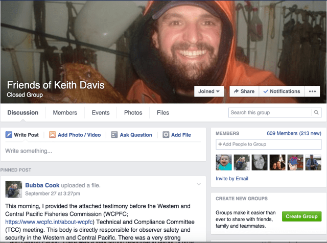 Keith Davis' friends and family have taken to social media in an attempt to find out what happened to the marine biologist. Davis disappeared on Sept. 10 while working on a foreign fishing vessel off the coast of Peru.