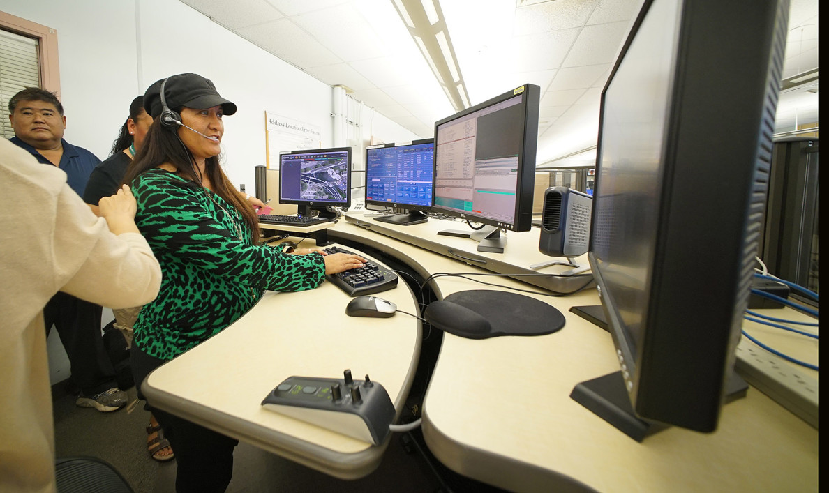 Debra Keola, a 23-year veteran of the HPD dispatch center, is one of the people you might talk to if you call 911 to report an emergency in Honolulu. The center is located inside police headquarters.