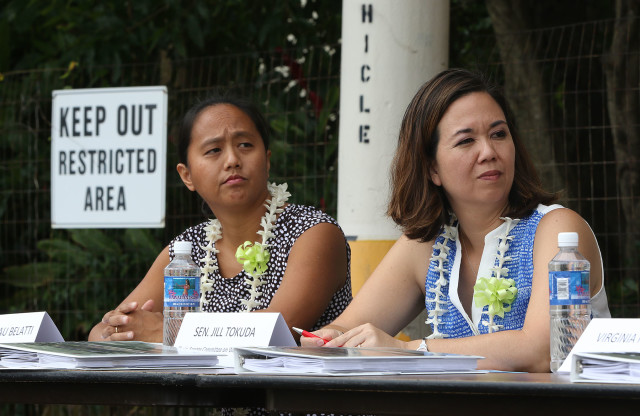 State Rep. Della Au Belatti, left, Sen. Jill Tokuda listen during a press conference unveiling the updated master plan for the Hawaii State Hospital, Tuesday.