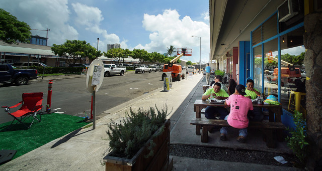 Honolulu's version of a sidewalk cafe is something like these benches outside Cocina restaurant in Kakaako.