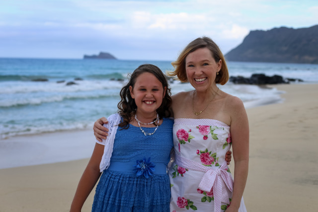 Cara Barber and her daughter Abby who developed asthma after moving to the Marine Corps Base Hawaii in Kaneohe.