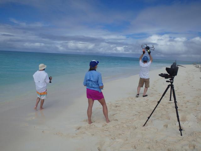 A NOAA team conducts drone research in the Northwestern Hawaiian Islands.