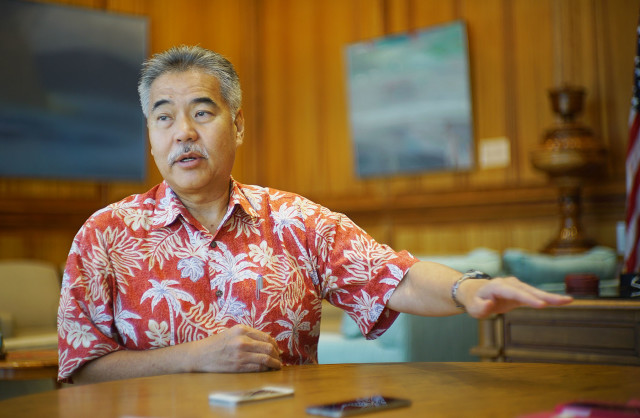 Governor David Ige as interviewed by Chad Blair. 1 oct 2015. photograph Cory Lum/Civil Beat