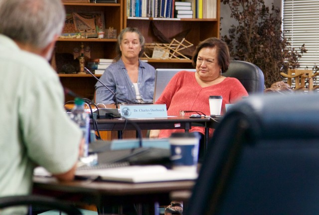 Wespac Executive Director Kitty Simonds, right, listens during a meeting Tuesday.