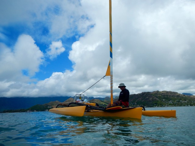 Al Gonzales on his kayak at Twin Island in 2014.