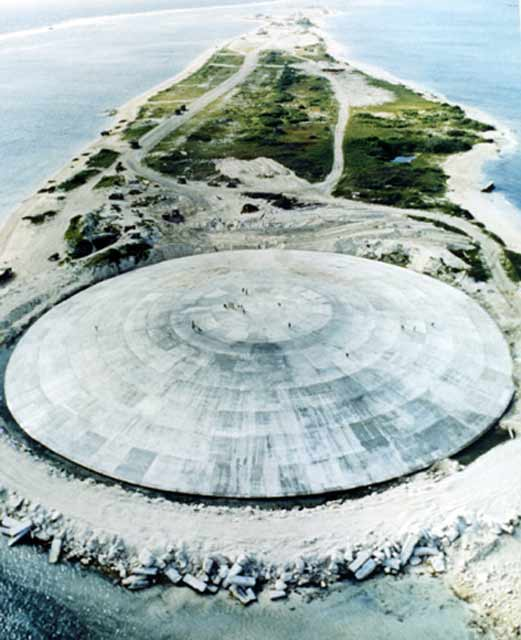 The Runit Dome on Enewetak Atoll was built to cover a disposal crater holding 84,000 cubic meters of radioactive soil scraped from the various contaminated Enewetak Atoll islands.