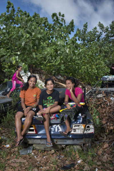 Chuukese, like these girls on the main island of Weno, have access to only limited health care.