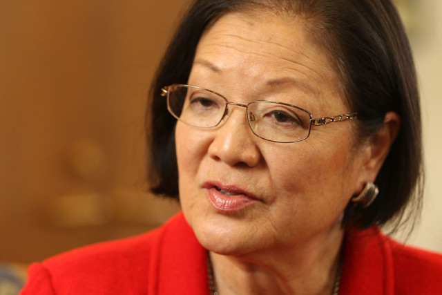 Sen. Mazie Hirono joined Rep. Grace Meng in banning offensive racial terms in law.