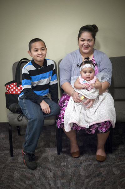 A Chuukese family at their church in Vancouver, Washington.