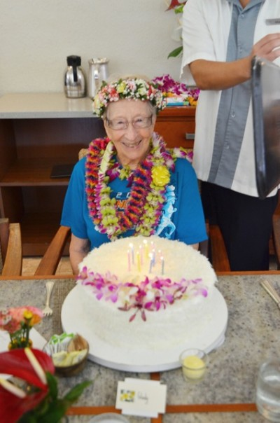 Gladys Burrill at her 97th birthday party.