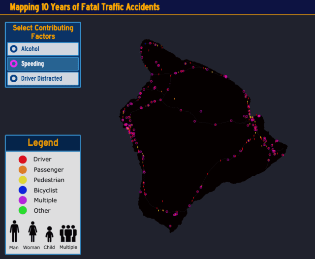 The purple circles indicate that speeding was a contributing factor to the road fatalities.