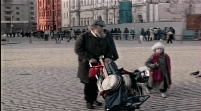 Jessica Terrell, at age 8, with her dad, Poppa Neutrino in Red Square in Moscow. 1992.