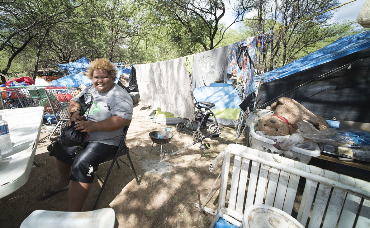 Charlene lives in a tent next to her mother in The Harbor. Despite the difficulties she faces, the 33-year-old is one of the friendliest residents of The Harbor.