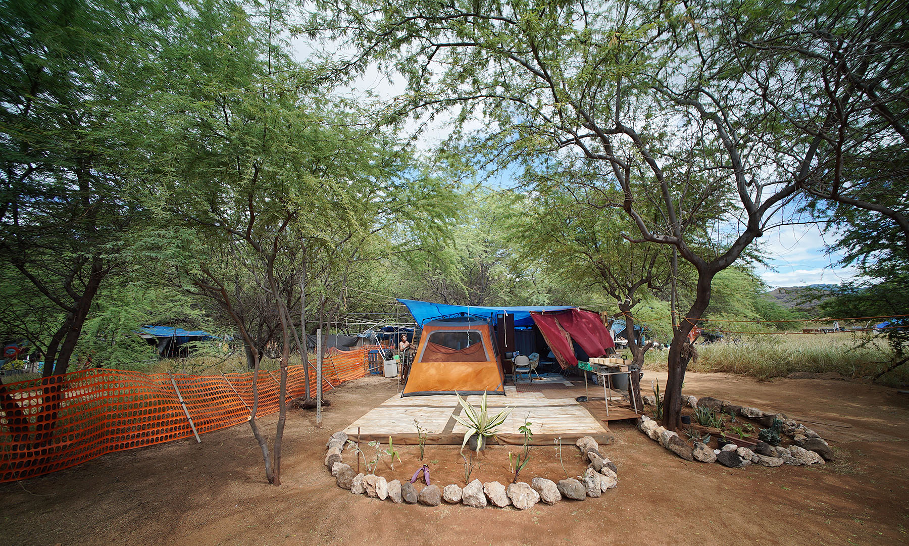 Margaret Bickell spent hundreds of hours working on the structure and landscaping around her tent. photograph Cory Lum