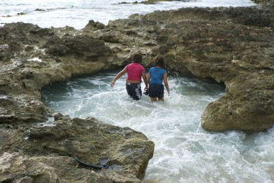 "Kids from The Harbor, play in a stretch of rocky coastline known as ""the swimming hole."""