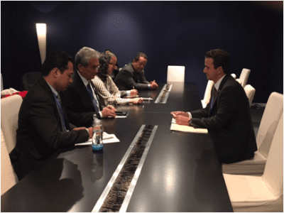 Schatz meets with representatives of Palau and the Marshall Islands, whose forceful advocacy on climate change has made them players on the international stage, said Schatz.