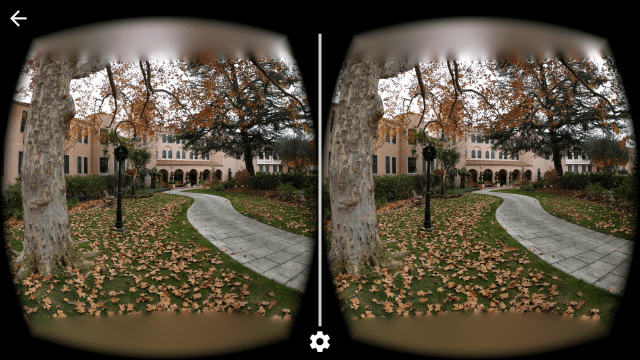 Cardboard Camera images can be viewed in stereoscopic glory using Google Cardboard, creating a surprisingly good three-dimensional image. Note how the tree trunk is slightly closer to the frame in the left eye's image versus the right eye's image.