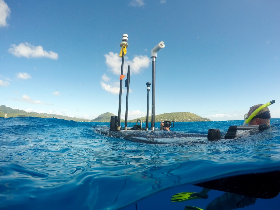 The Wave Glider has a front facing camera that live streams online. It also gathers weather and location data.