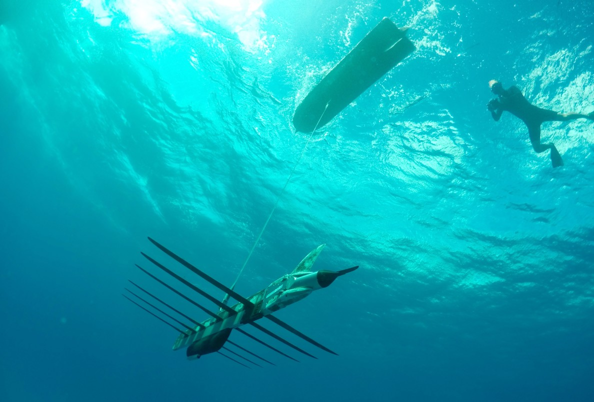 Liquid Robotics' Wave Glider cruises around Maunalua Bay, Thursday. The bottom panels use wave energy for propulsion.