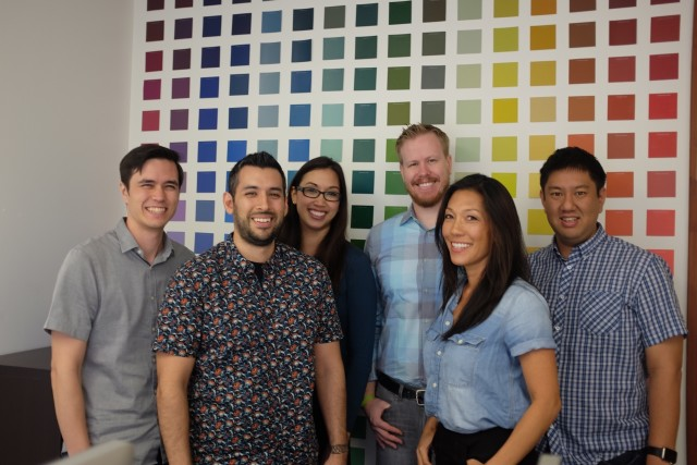 The Hobnob team, from left, Jason Axelson, Mark Quezada, Tiffany Quezada, Tommy Hanks, Tina Fitch and George Lee.