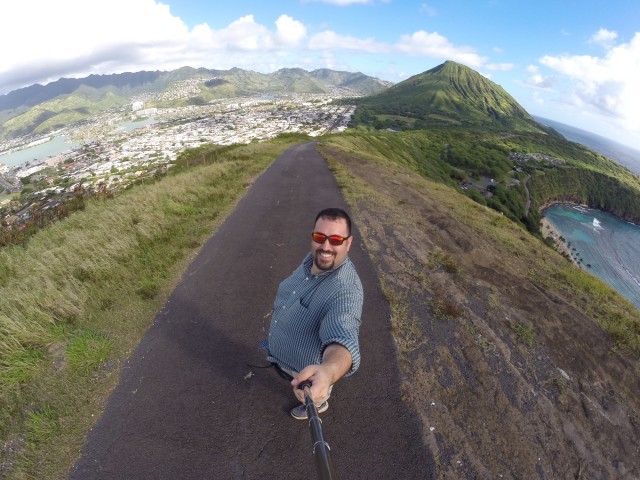 Anthony Quintano atop Koko Head with Koko Crater in the background.