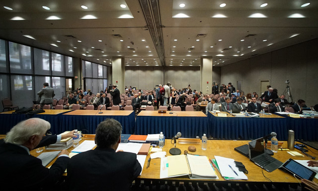 Public Utility Commission Evidentiary Hearing wide before meeting starts. PUC Hawiaian Electric. HEI. 30 nov 2015. photograph Cory Lum/Civil Beat