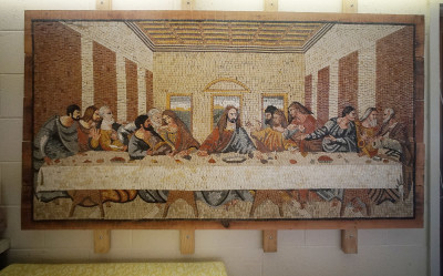 Tiled art at the Saint Francis convent depicting The Last Supper.