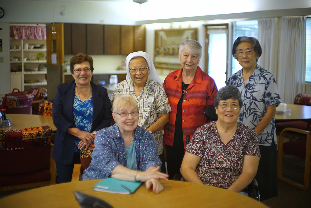 Front row from left, Sister Norberta Hunnewinkel and Sister Marion Kikukawa. Back row from left, Sister Joan of Arc Souza, Sister Rose Annette Ahuna, Sister Samuel Marie Settar and Sister Francis Regis Hadano.