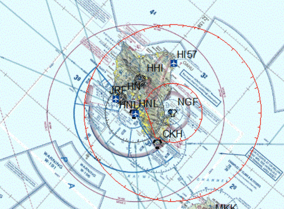Oahu flight restrictions map for Obama visit Xmas 2015