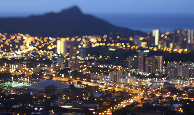 University of Hawaii at Manoa foreground with Diamond Head in background. HECO. HEI. Hawaiian Electric. TILT SHIFT LENS USED. 28 nov 2015. photograph Cory Lum/Civil Beat