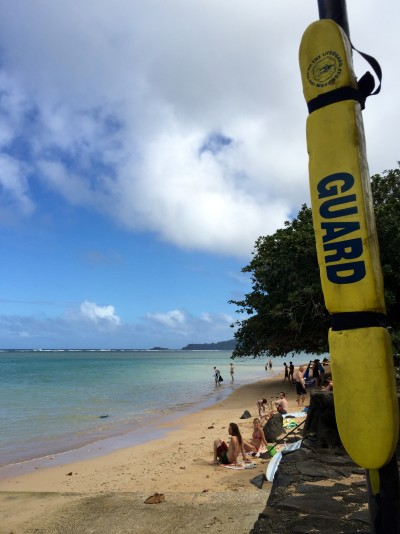 This rescue tube at Anini Beach is one of more than 200 that community members places around Kauai at mostly unguarded beaches.