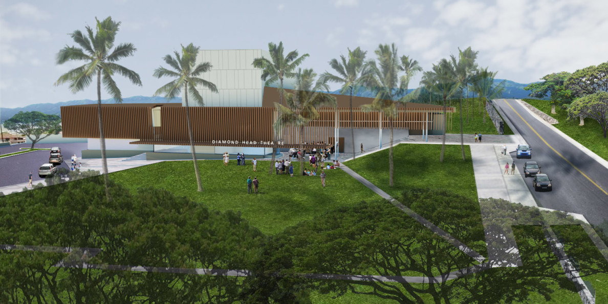 The view of the proposed new theater looking mauka from the corner of Alohea Avenue and Makapuu Avenue.