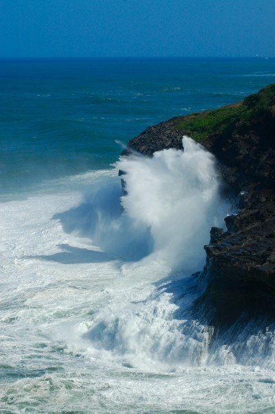 Waves crash against the shore at Kilauea Point on Kauai.